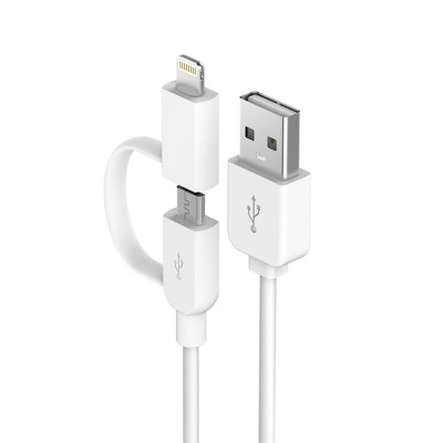 Smart  Series 2 in 1 Cable for Micro USB & Lightning (2.1A, 1M)