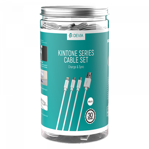 Kintone series cable set(Micro, Type, Lightning, 30PCS)